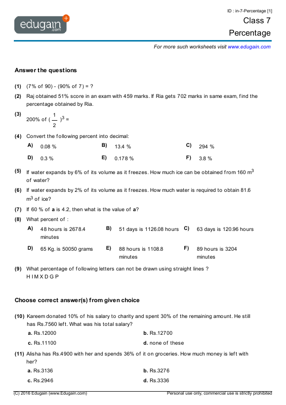Grade 7 Math Worksheets and Problems Percentage – Percent to Decimal Worksheets