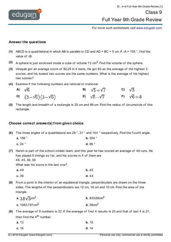 Printables Worksheets For 9th Graders grade 9 math worksheets and problems full year 9th review contents review